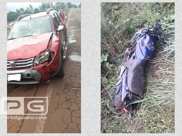 Santa Helena - PRE registra acidente envolvendo carro e moto