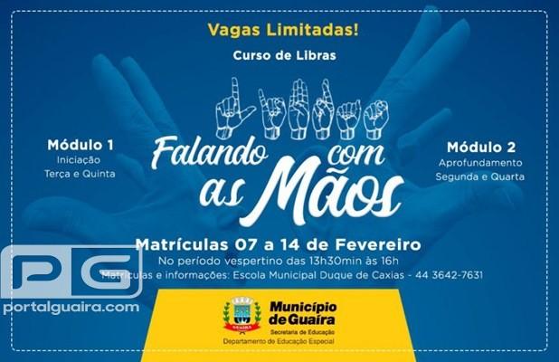 Guaíra - Estão abertas as inscrições para o Projeto Falando com as Mãos 2019